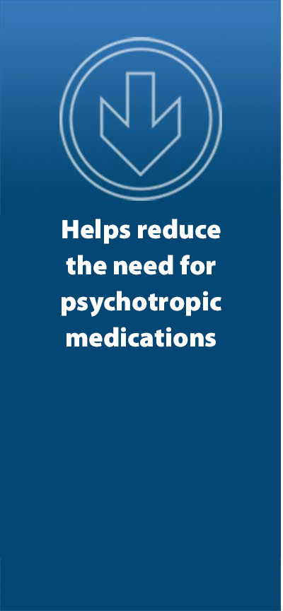 Reduces use of psychotropic and other treatment medications